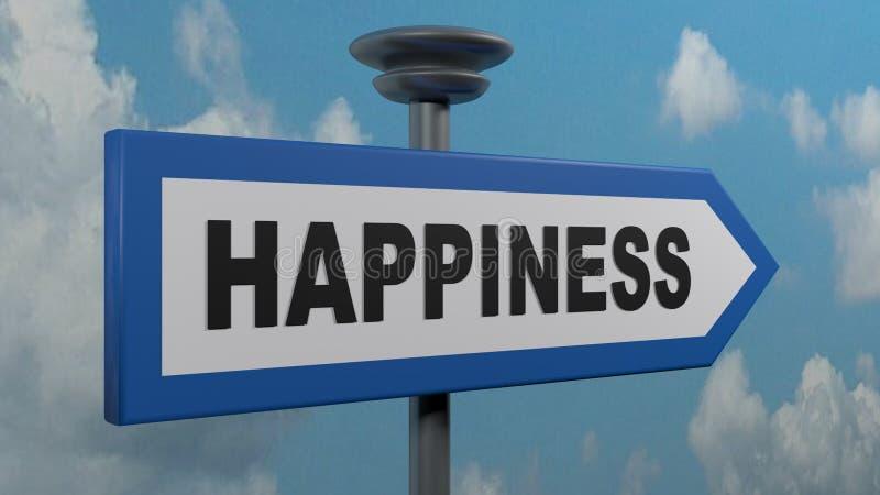 Sinal de rua azul da seta da felicidade - ilustração da rendição 3D ilustração royalty free