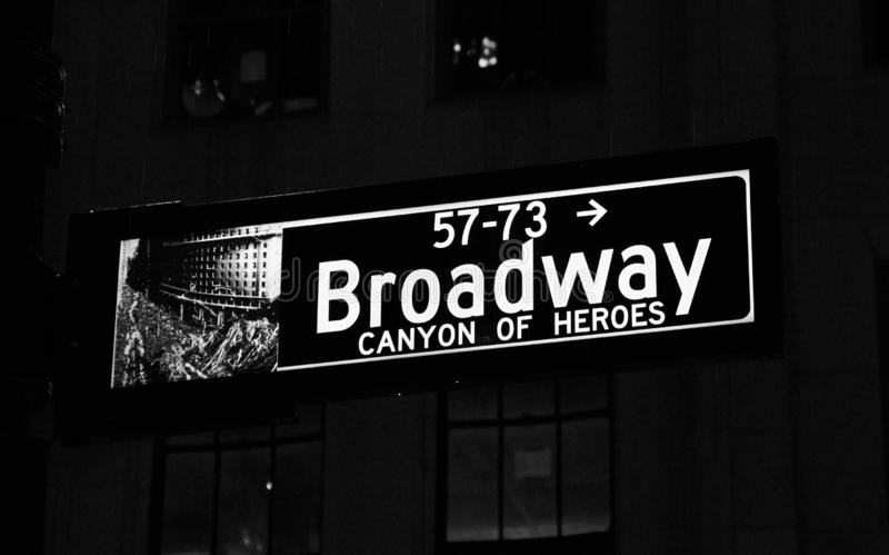 Sinal de rua Broadway imagens de stock