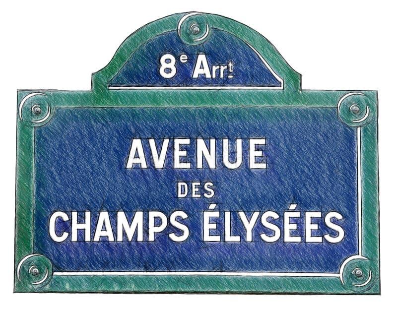 Sinal de rua Champs-Elysees, Paris, França Ilustração na tração ilustração do vetor
