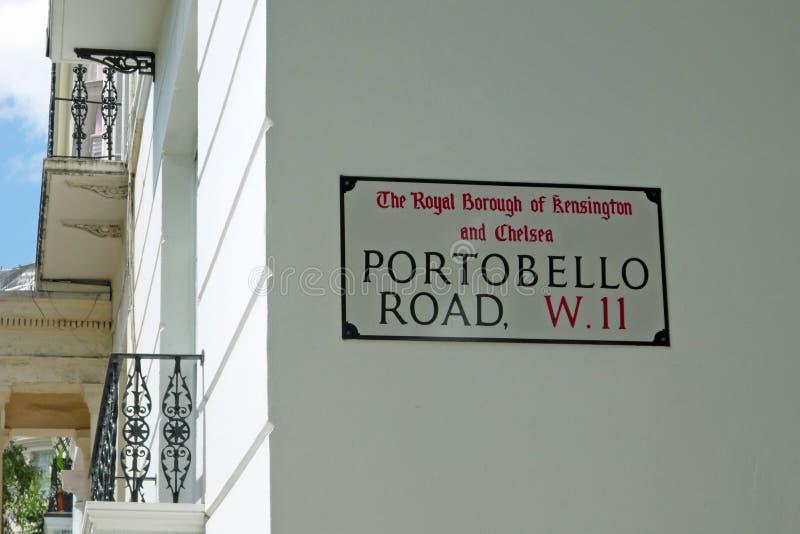 Sinal de rua da estrada de Portobello imagens de stock royalty free