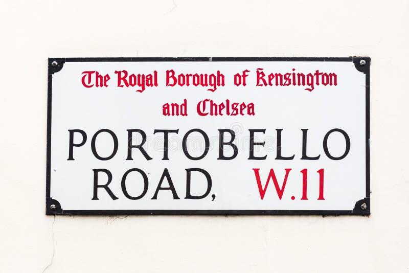 Sinal de rua da estrada de Portobello em Londres foto de stock