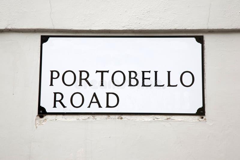 Sinal de rua da estrada de Portobello, Londres imagens de stock royalty free