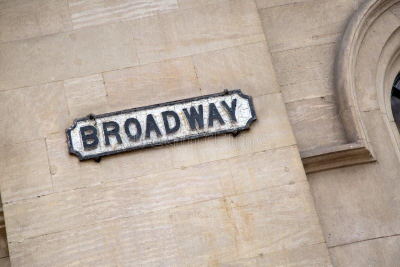 Sinal de rua de Broadway; Distrito do mercado do laço, Nottingham foto de stock royalty free