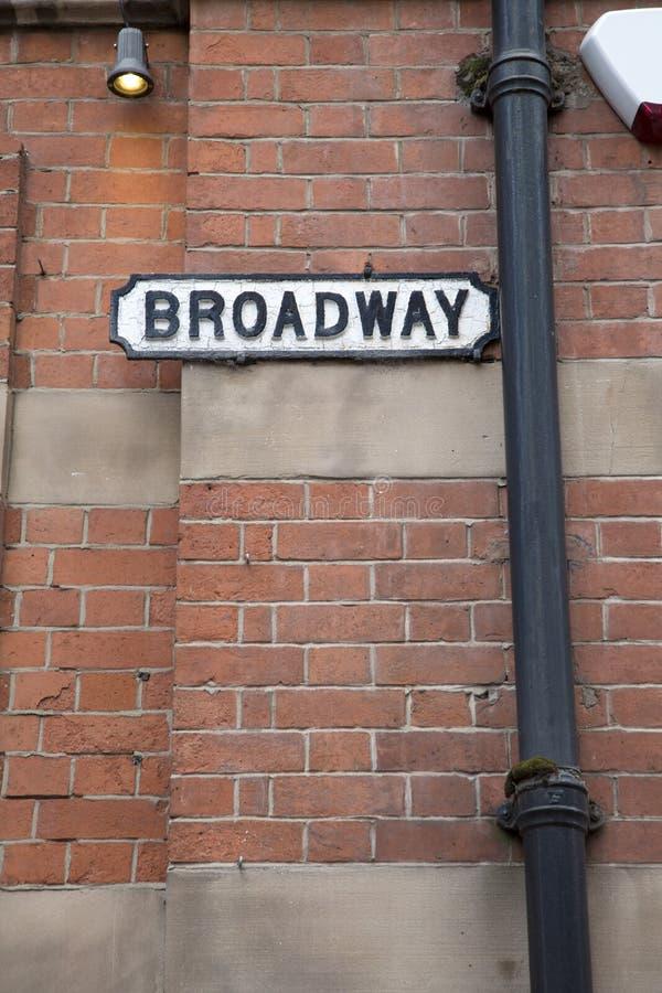 Sinal de rua de Broadway; Distrito do mercado do laço, Nottingham fotos de stock royalty free
