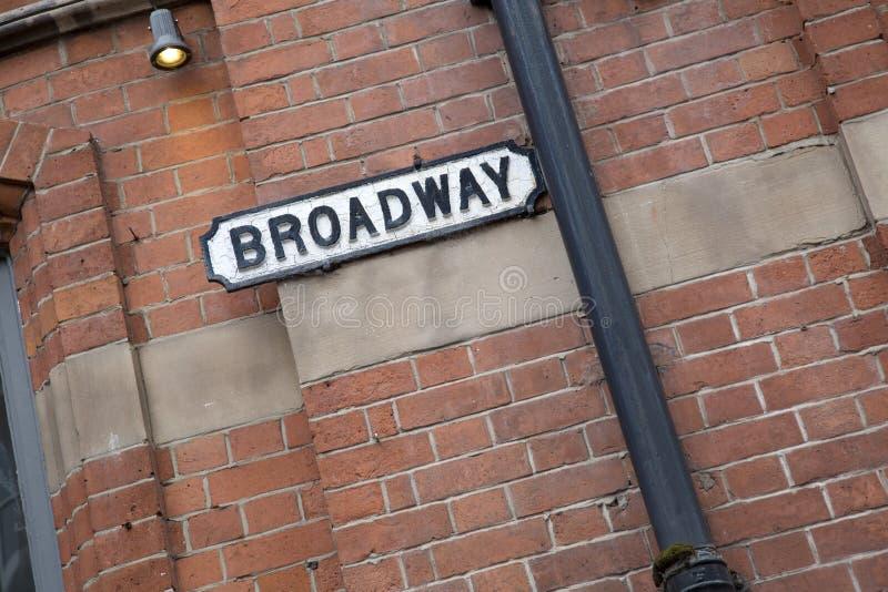 Sinal de rua de Broadway; Distrito do mercado do laço, Nottingham imagens de stock