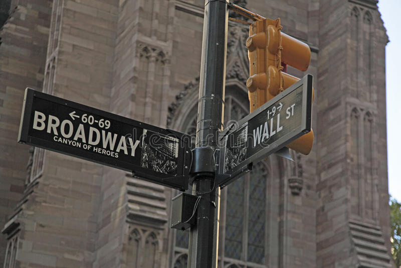 Sinal de rua de Broadway e de Wall Street NYC fotografia de stock