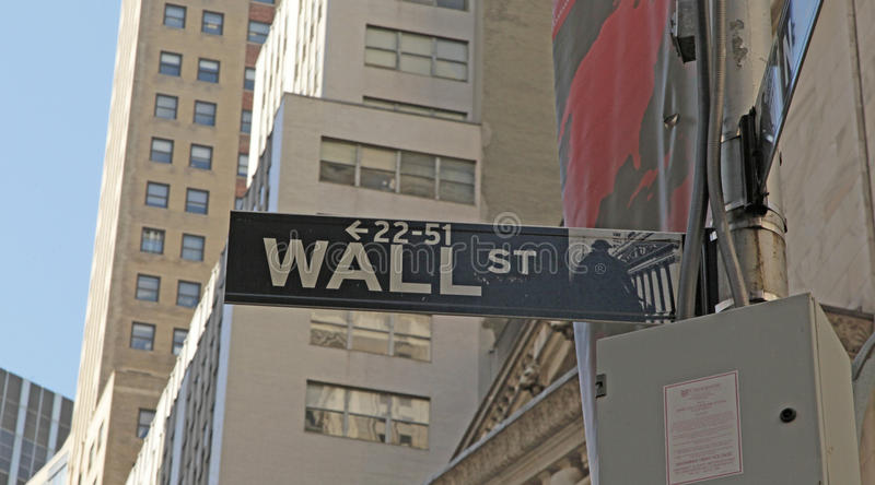 Sinal de rua de Broadway e de Wall Street NYC fotos de stock royalty free