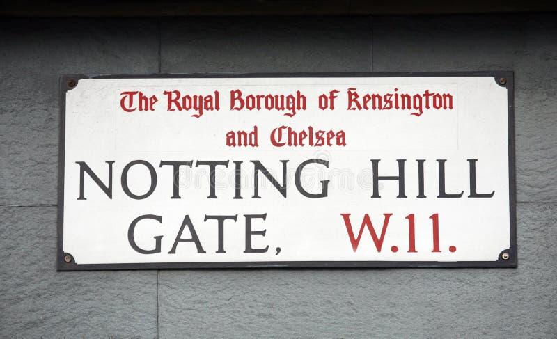Sinal de rua de Londres, PORTA de NOTTING HILL imagem de stock