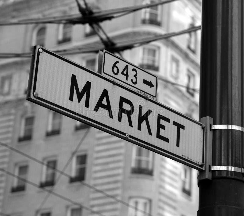 Sinal de rua do mercado imagens de stock royalty free