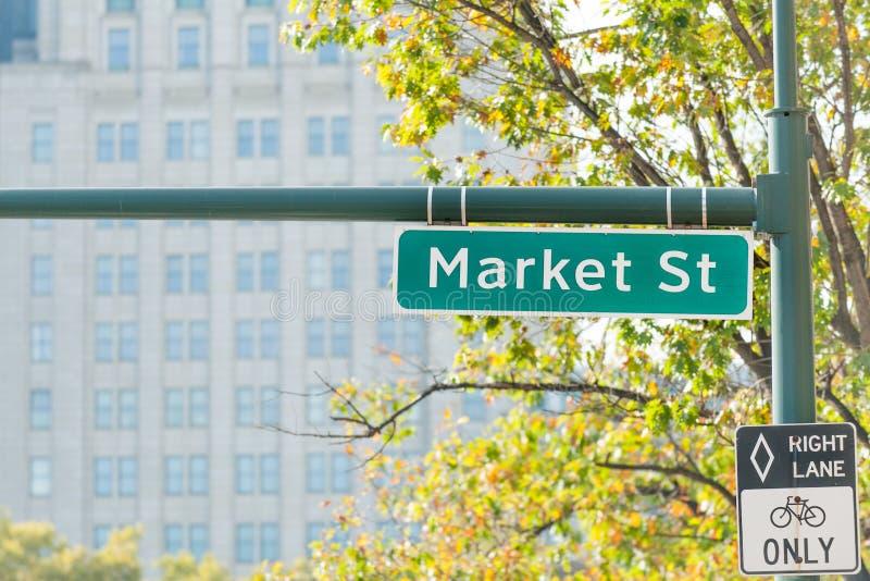 Sinal de rua do mercado imagem de stock