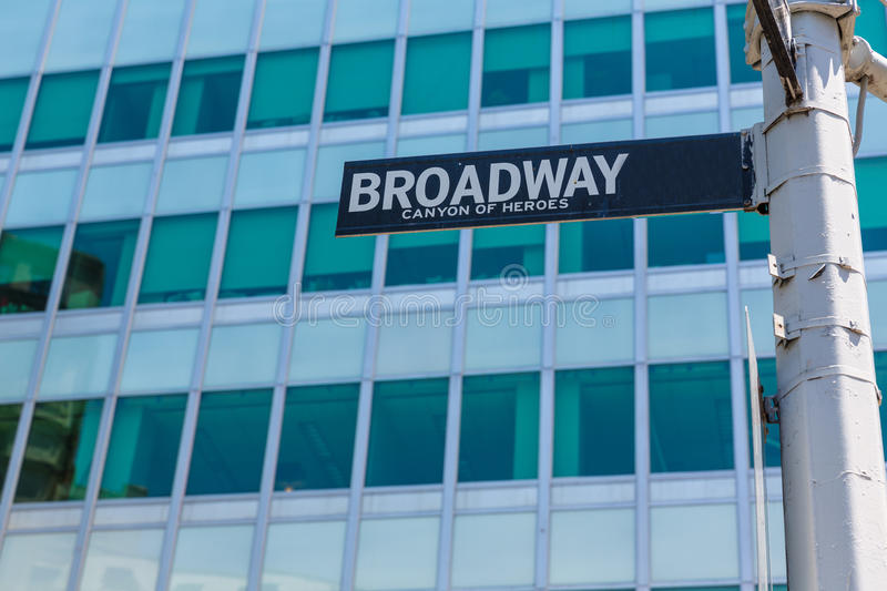 Sinal de rua Manhattan de Broadway New York EUA foto de stock