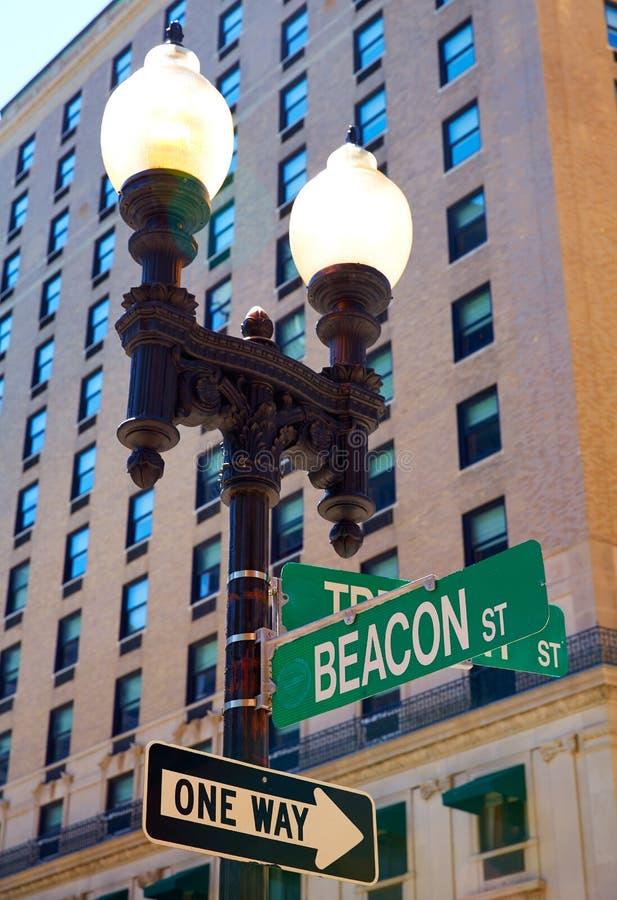Sinal de rua Massachusetts da baliza de Boston fotografia de stock