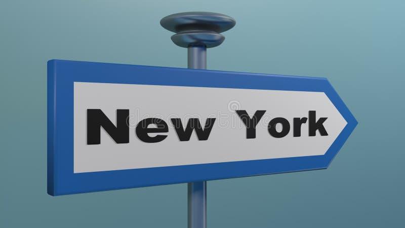 Sinal de rua de seta azul NEW YORK - ilustração de renderização 3D ilustração royalty free