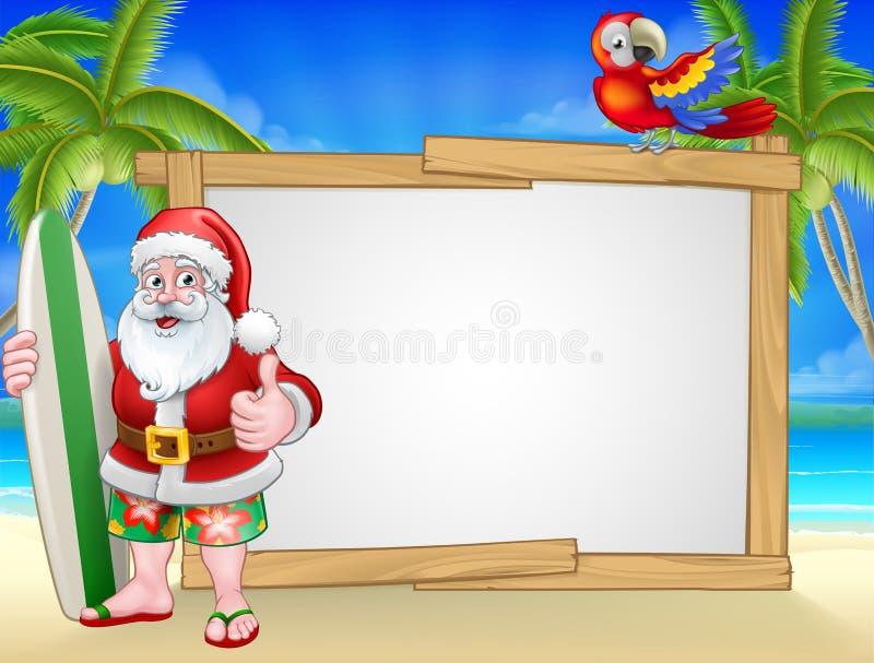 Sinal de Santa Claus Surf Beach Christmas Background ilustração do vetor