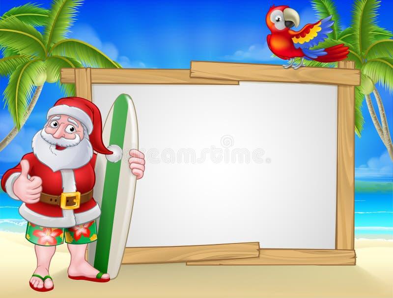 Sinal de Santa Claus Surf Beach Christmas Cartoon ilustração stock