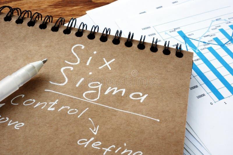 Sinal de seis sigmas como conceito de Fabricação Lean fotografia de stock