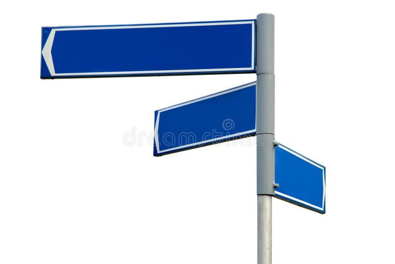 Sinal de sentido azul em branco foto de stock
