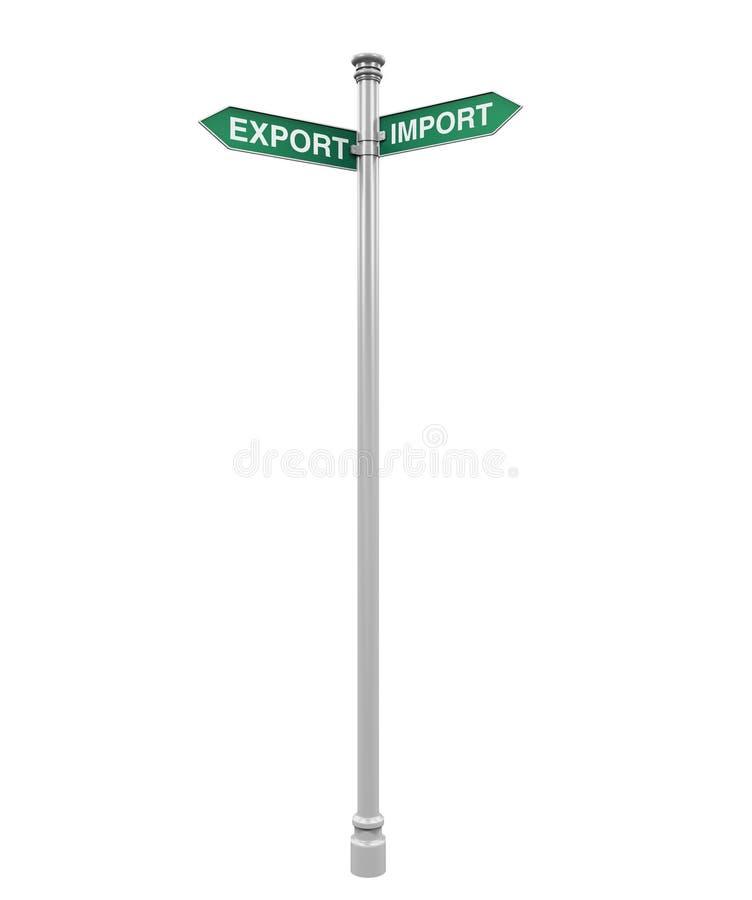 Sinal de sentido da exportação e da importação ilustração royalty free