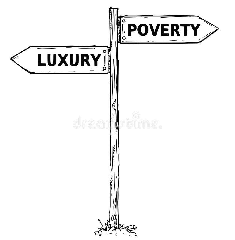 Sinal de sentido do vetor dos desenhos animados com pobreza a de duas setas da decisão ilustração stock