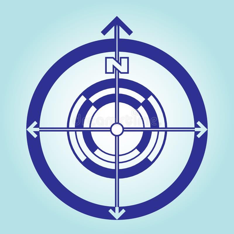 Sinal de sentido norte em uma luz - fundo azul Orientação nos lados do mundo Projeto liso do vetor ilustração royalty free