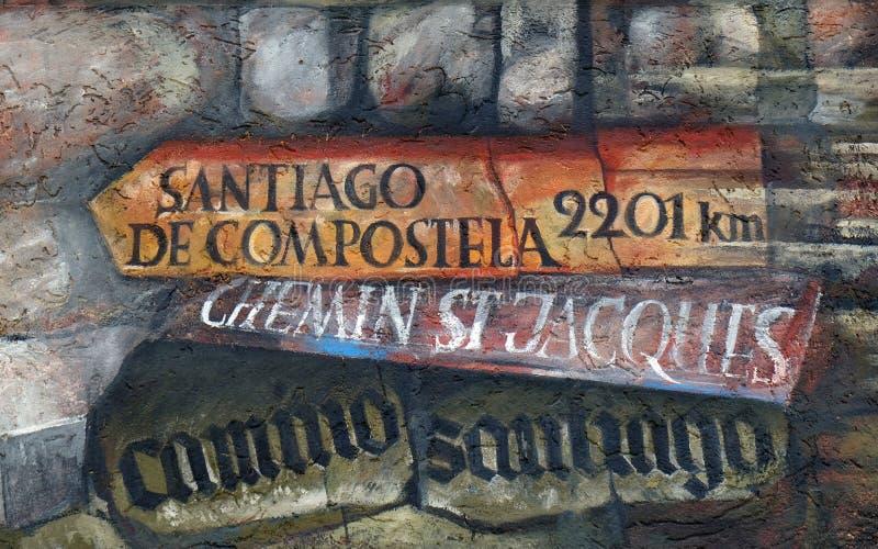 Sinal de sentido para Santiago de Compostela fotos de stock royalty free