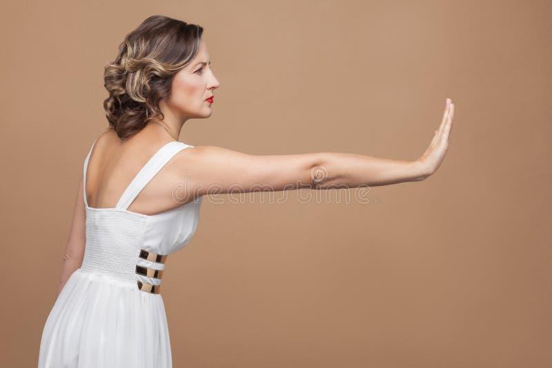Sinal de Stip, proibição das mãos, lado do perfil fotos de stock royalty free