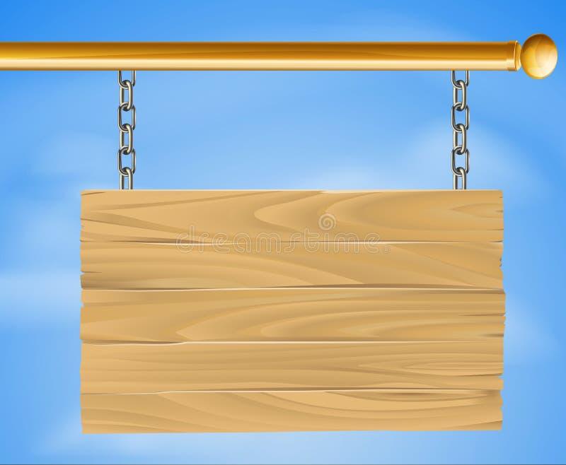 Sinal de suspensão de madeira ilustração stock