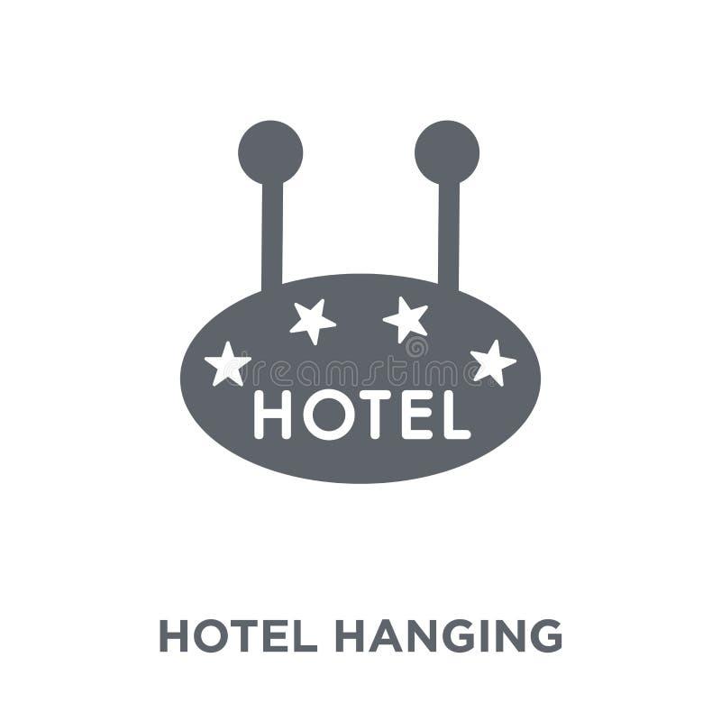 Sinal de suspensão do hotel do ícone de quatro estrelas da coleção do verão ilustração do vetor