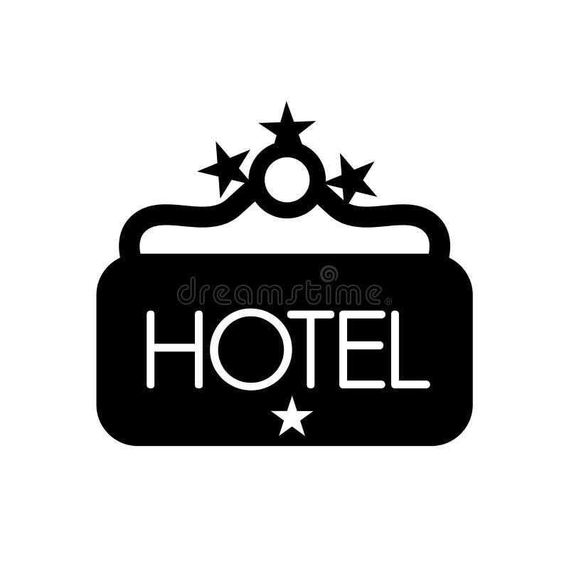 Sinal de suspensão do hotel do ícone de quatro estrelas Si de suspensão do hotel na moda ilustração royalty free
