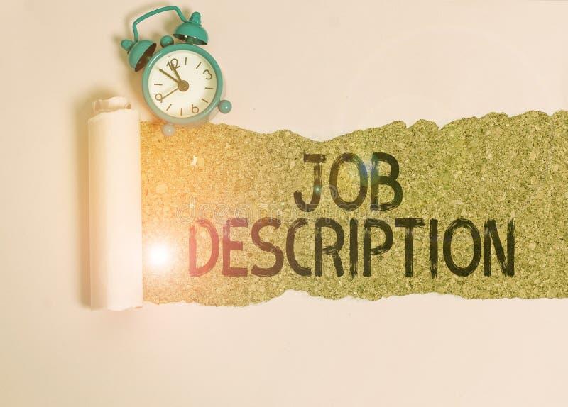 Sinal de texto mostrando a Descrição do Job Foto conceitual: uma conta formal de um funcionário é responsabilidade Alarm clock imagens de stock royalty free