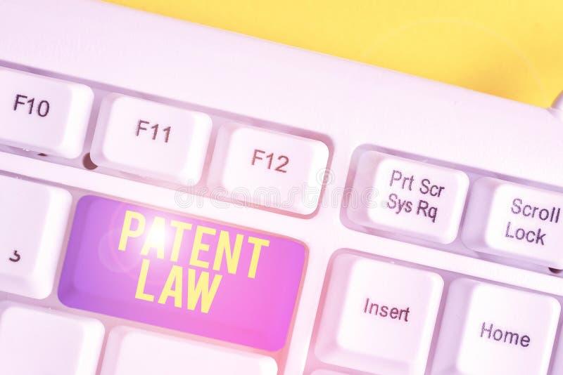 Sinal de texto mostrando a Lei de Patentes Fotografias conceituais lida com um inventor é o direito exclusivo de usar o próprio P fotos de stock royalty free