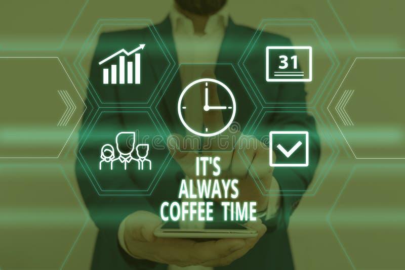 Sinal de texto mostrando o tempo do café sempre Citação de fotos conceituais para amantes de cafeína Beba durante todo o dia Desg imagens de stock royalty free