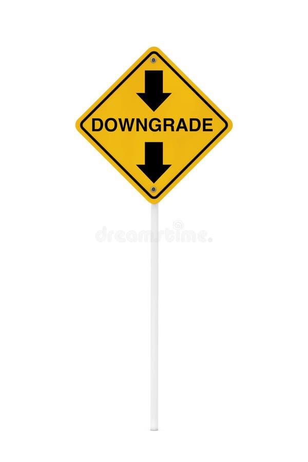 Sinal de tráfego de advertência do Downgrade rendição 3d ilustração stock
