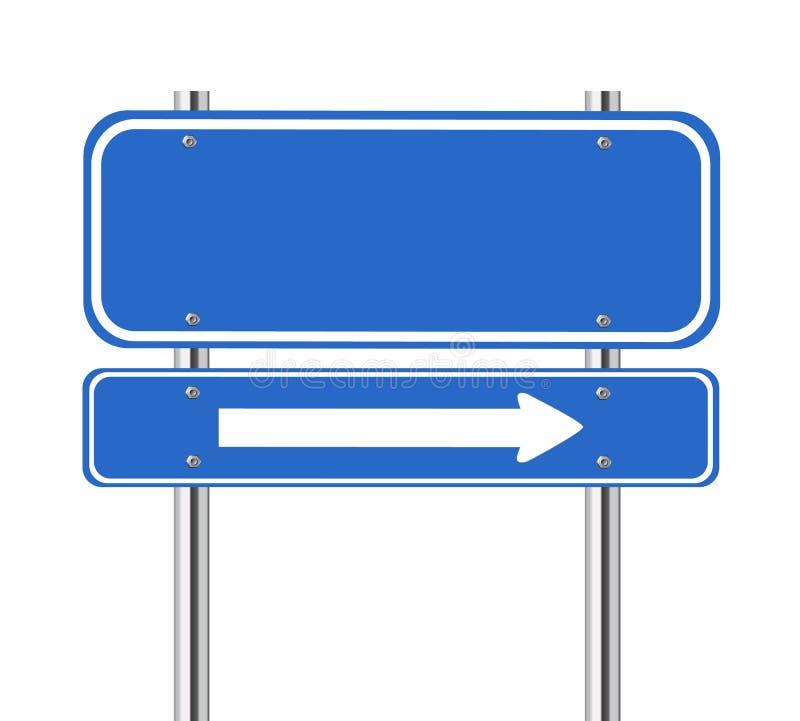 Sinal de tráfego azul vazio com seta branca ilustração do vetor
