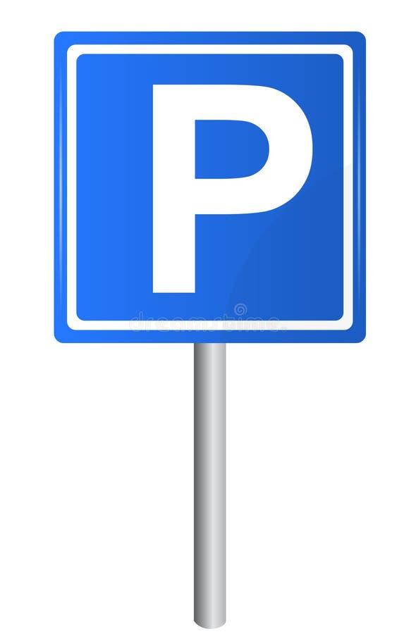 Sinal de tráfego do estacionamento no polo, ilustração do vetor