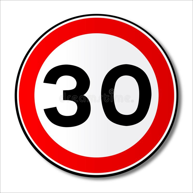 Sinal de tráfego do limite de 30 MPH ilustração stock