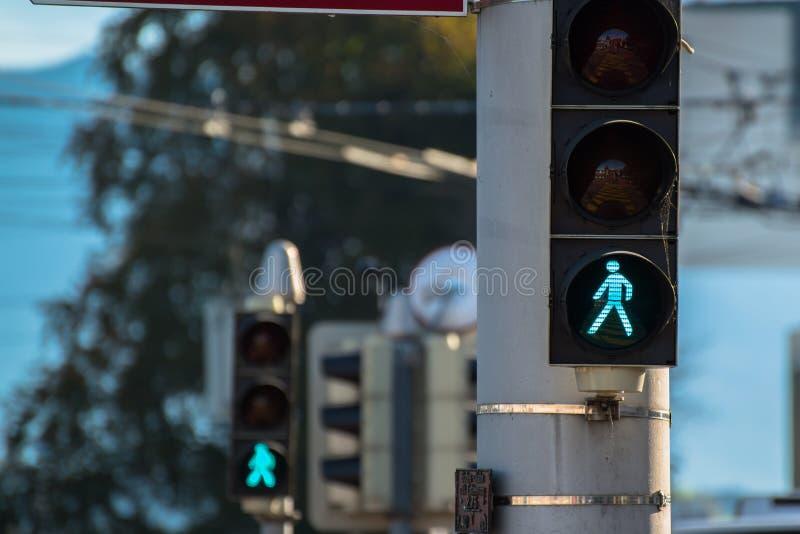 Sinal de tráfego e lâmpadas do tráfego imagens de stock