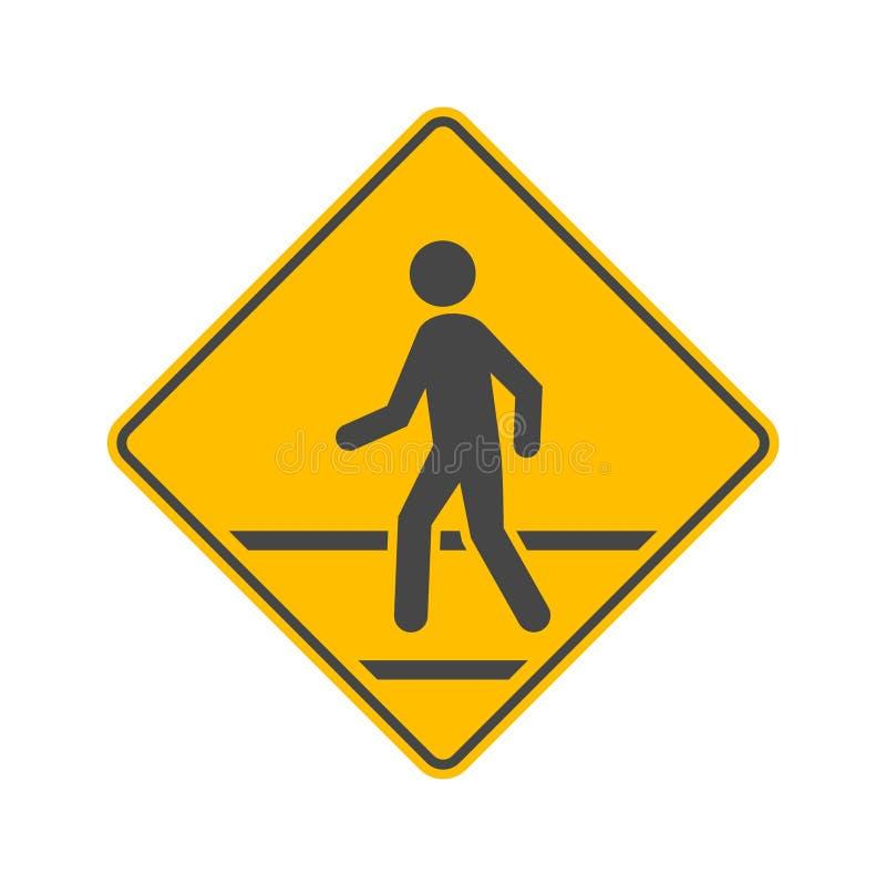 Sinal de tráfego pedestre isolado no fundo branco ilustração do vetor