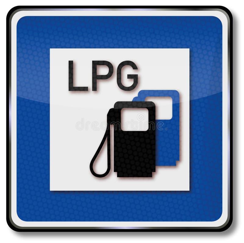 Sinal de um posto de gasolina do carro ilustração royalty free