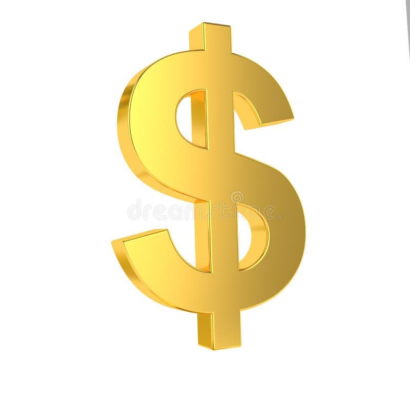 Sinal de USD s?mbolo dourado do d?lar 3d isolado no fundo branco rendi??o 3d ilustração stock