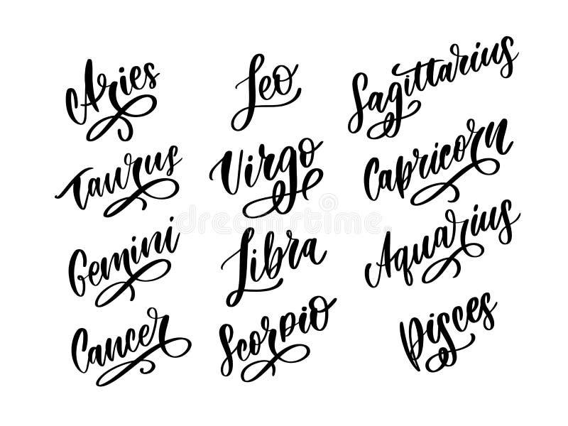 Sinal de vetor de letra Zodíaca. Ilustração de texto da astrologia do desenho animado. Conjunto de ícones do Horoscope manuscr ilustração do vetor