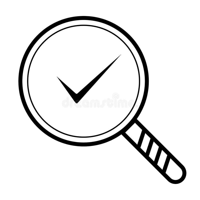 Sinal de vidro de ampliação da lupa com sinal Esboce ícone aprovado e correto no estilo liso Marca do tiquetaque da verificação c ilustração stock