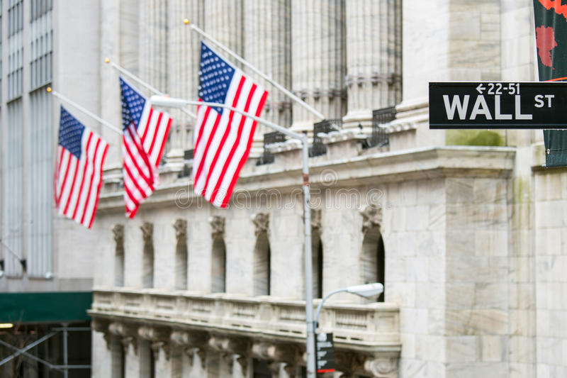 Sinal de Wall Street fotos de stock royalty free