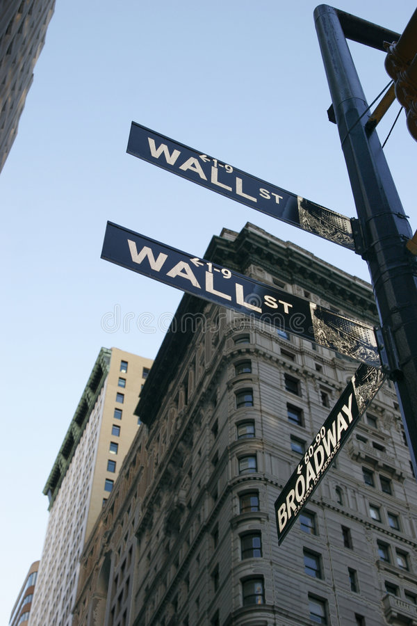 Sinal de Wall Street - New York City fotografia de stock