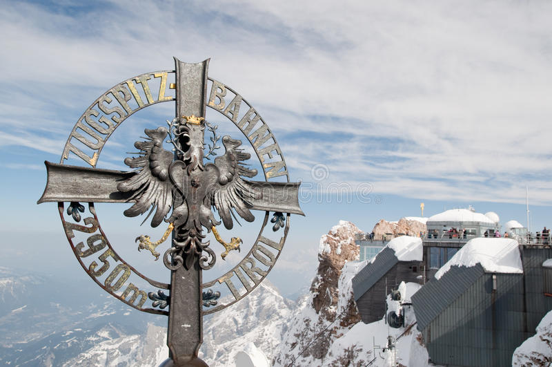 Sinal de Zugspitze fotografia de stock royalty free