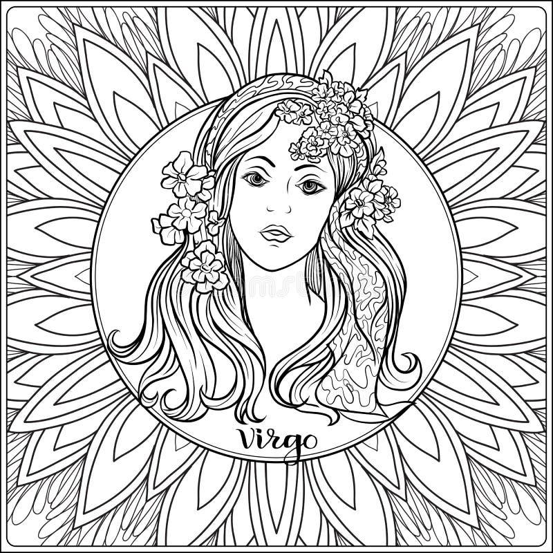 Sinal decorativo do zodíaco no fundo do teste padrão ilustração royalty free