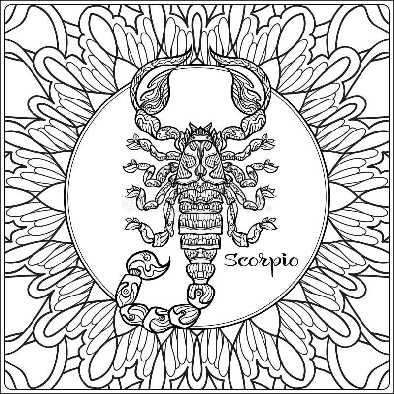 Sinal decorativo do zodíaco no fundo do teste padrão ilustração do vetor