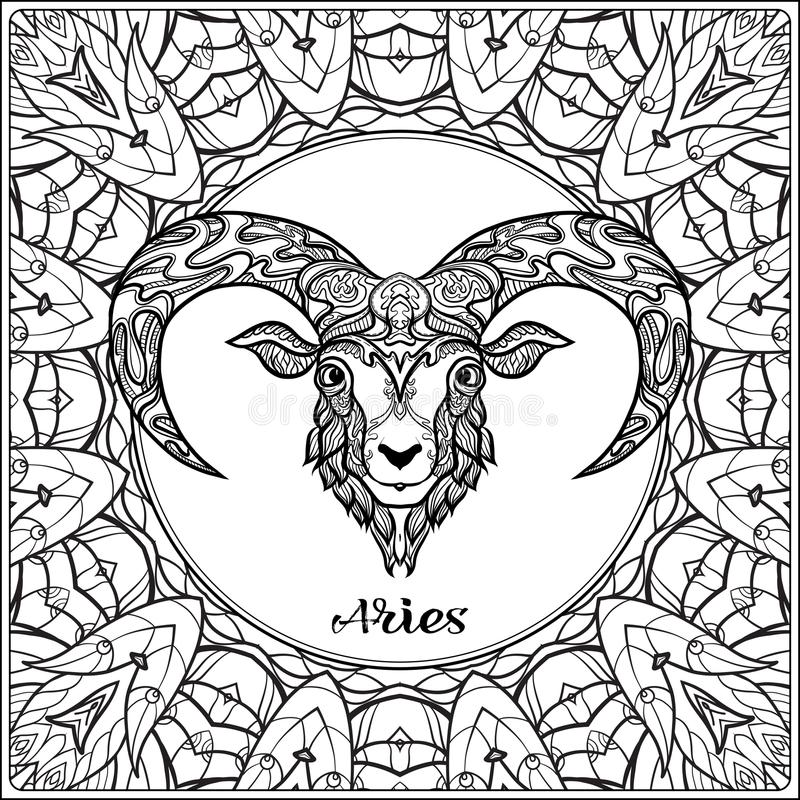 Sinal decorativo do zodíaco no fundo do teste padrão ilustração stock