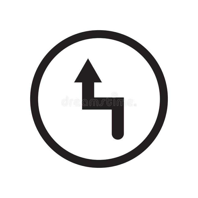 Sinal deixado e símbolo do vetor do ícone da curvatura isolados no fundo branco, conceito esquerdo do logotipo da curvatura ilustração do vetor