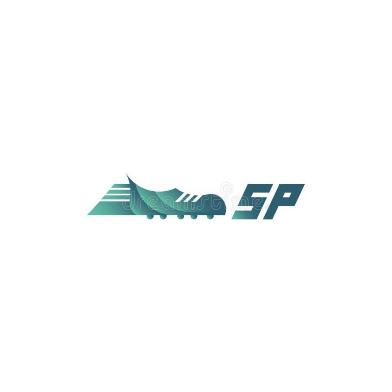 Sinal desportivo do logotipo com bota do futebol ilustração do vetor